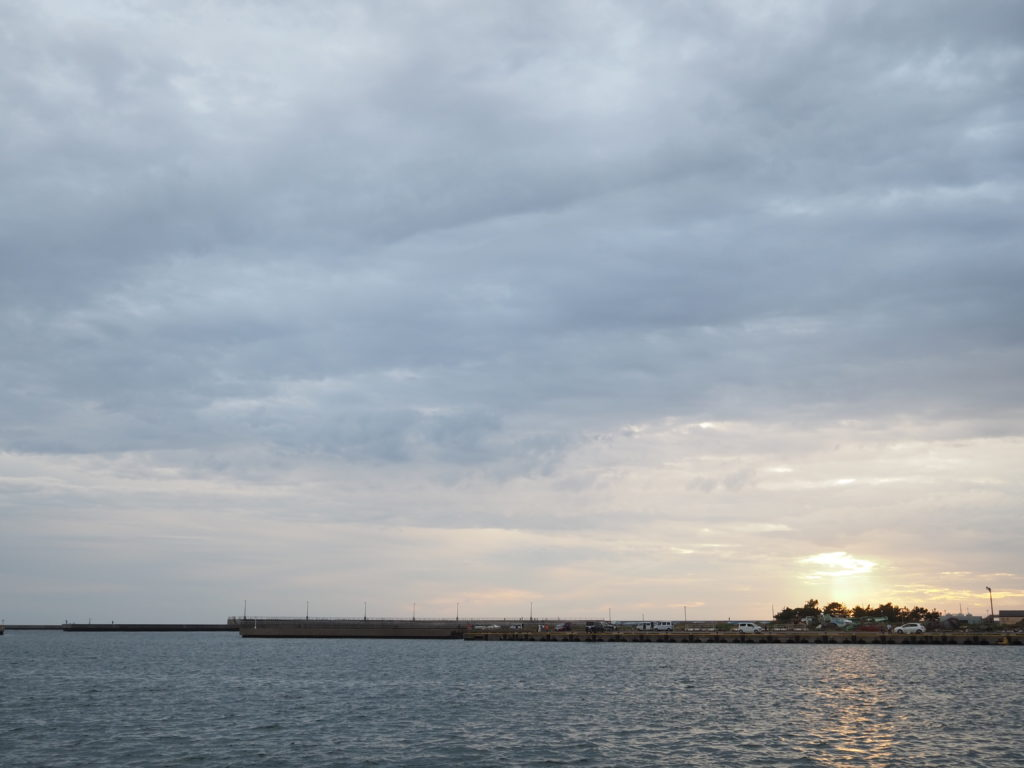 飯岡漁港の夕日